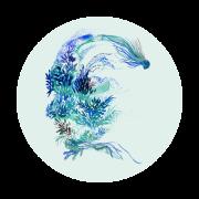 Le bleu logo rond